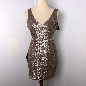 bebe Dresses - Bebe Sequined Cut Out Dress
